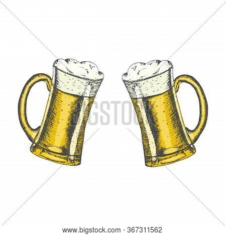 Colored Glass Mugs With Beer And Beer Foam Overflowing Over The Edge On White Background. Hand Drawn