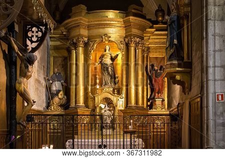 Barcelona, Spain - May 15, 2017: Interior Of The Basilica Of Saints Justus And Pastor. The Construct
