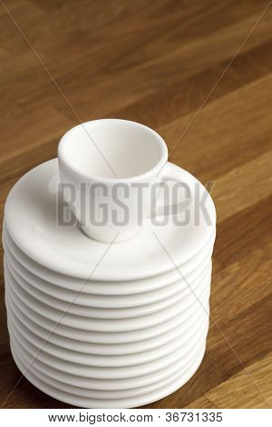 Coffee cup and saucers.