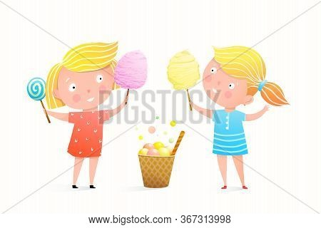 Two Little Girls Eating Candy Cotton, Lollipop And Ice Cream At Fair Or Festival. Cute Cartoon Of Ch