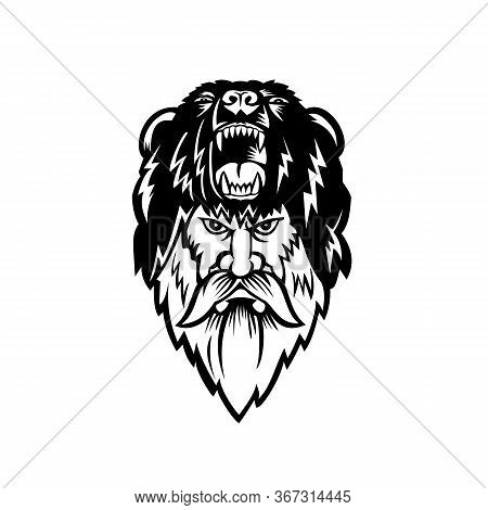 Black And White Illustration Of Head Of A Berserker Or Bear Warrior Wearing Bear Skin Viewed From Fr