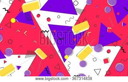 Memphis Design. 80s Background. Purple, Red, Yellow Colors. Abstract Dots. Memphis Pattern. Vector I