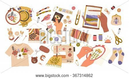 Set Of Embroidery And Weaving Vector Flat Illustration. Collection Of Different Type Handmade Creati