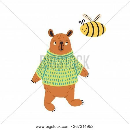 Cartoon Colorful Bear In Jumper Standing With Bee Vector Flat Illustration. Cute Wild Animal Posing