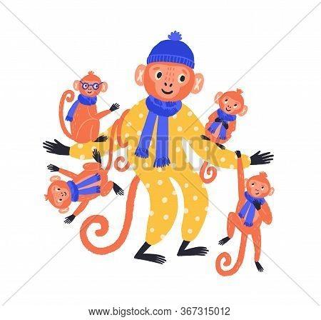 Adorable Hand Drawn Monkey Family In Funny Costume Vector Flat Illustration. Cute Cartoon Wild Anima
