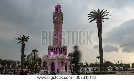 Izmir, Turkey - October 11, 2019: Izmir Clock Tower. The Famous Clock Tower Symbol Of Izmir City.