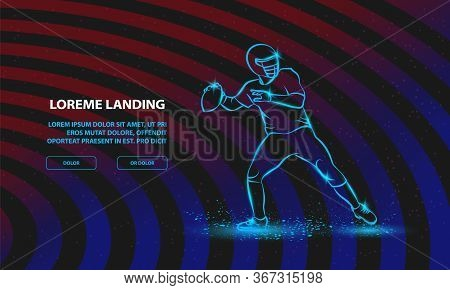 American Football Quarterback Throws The Ball. Vector Sport Background For Landing Page Template.