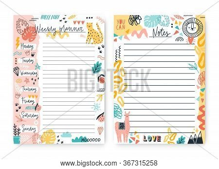 Set Of Colorful Doodle Weekly Planner And Notes Template With Place For Text Vector Flat Illustratio