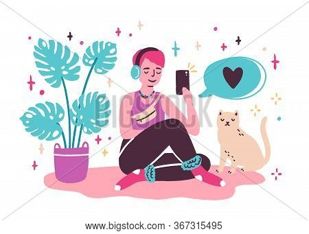 Young Woman Blogger Sitting On The Floor And Taking Selfie At Home. Girl Creating New Content For Bl