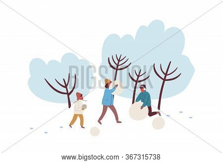 Cartoon Family Making Snowman Together Vector Flat Illustration. Happy Mother, Father And Child Spen