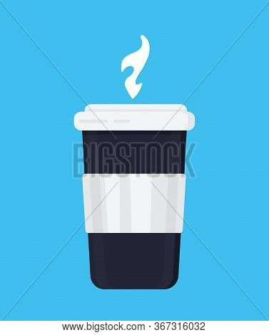 Disposable Coffee Cup Icon Vector On The Blue Background. Disposable Plastic Coffee Cup With Hot Cof