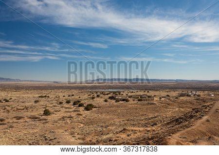 New Mexico Sevilleta National Wildlife Refuge As Seen From A Ridge On Mountains Adjacent, Horizontal