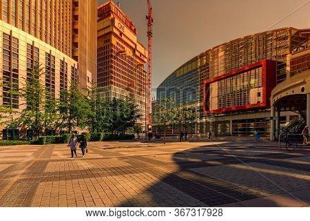 Frankfurt,germany - May 16,2020:friedrich-ebert-anlage This Is The Big,modern Fair Hall No. 1,opposi