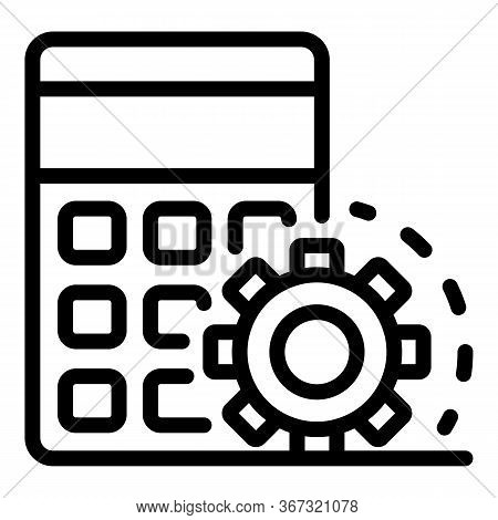 Calculator Gear Reduce Icon. Outline Calculator Gear Reduce Vector Icon For Web Design Isolated On W