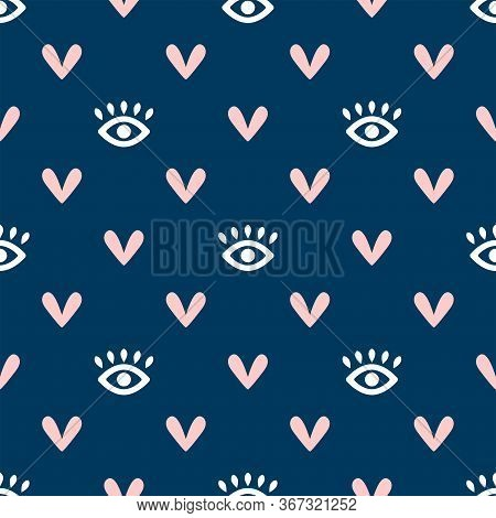 Seamless Pattern With Eyes And Hearts. Cute Girly Endless Print. Simple Vector Illustration.
