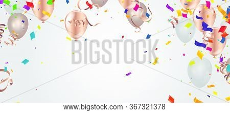 Confetti Background With Party Poppers And Air Balloons Isolated. Festive Vector Illustration