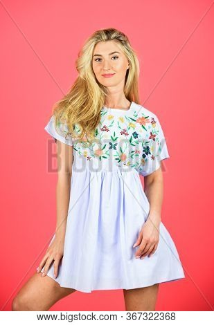 Cute Woman Has Blond Hair. Fashion And Beauty. Summer Dress Female Collection. Stylish Makeup For He