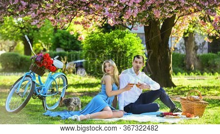 Attractive Couple Enjoying Romantic Sunset Picnic In Countryside. Couple Drinking Wine Sunny Day. Cu