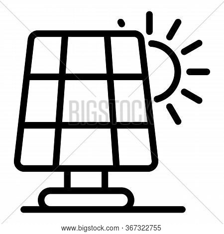 Solar Panel Icon. Outline Solar Panel Vector Icon For Web Design Isolated On White Background