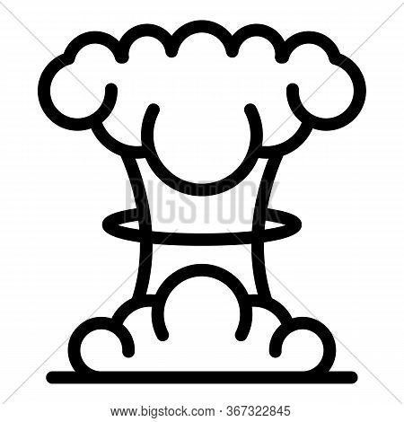 Nuclear Explosion Icon. Outline Nuclear Explosion Vector Icon For Web Design Isolated On White Backg