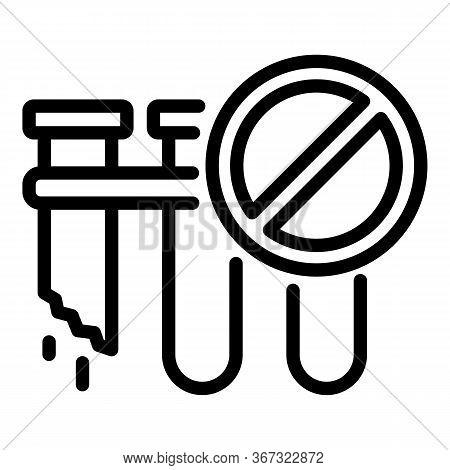Biohazard Test Tube Icon. Outline Biohazard Test Tube Vector Icon For Web Design Isolated On White B