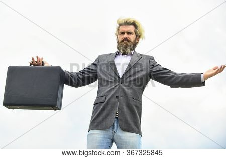 Business Concept. Bag With Money. Happy And Successful Man Hold Money Case. Bearded Man Show Office