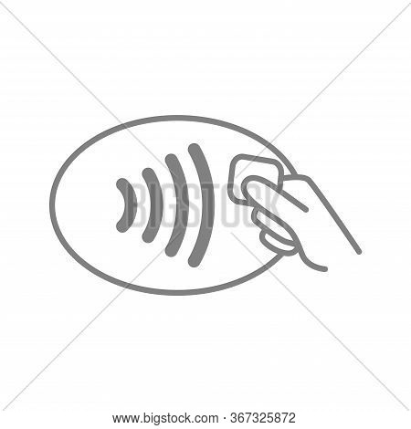 Contactless Payment Symbol. Nfc Wireless Pay Technology Outline Icon. Hand With Credit Card And Wifi