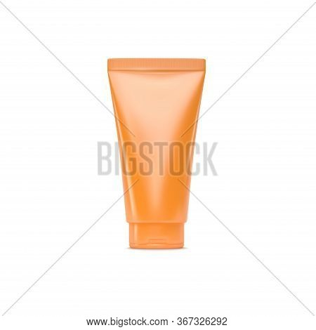 Orange Plastic Cream Tube Isolated On White Background. Sun Protection Cosmetic Product. Vector 3d I