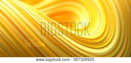 Yellow Striped Wave. Liquid Flowing Shape. Vector 3d Illustration. Abstract Colorful Background. Vib