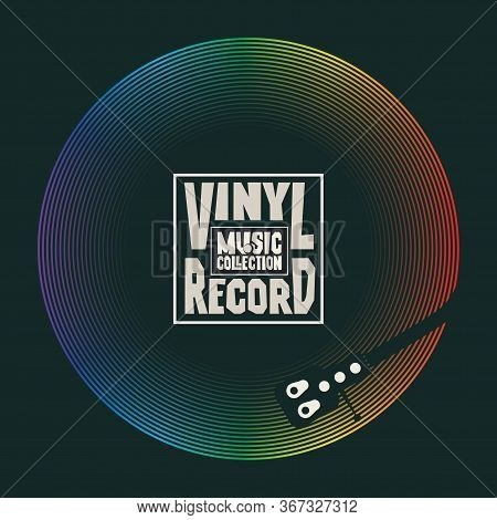 Vector Music Banner With Vinyl Record, Record Player And Words Vinyl Record, Music Collection. Suita