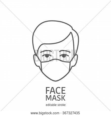 Man Avatar Wearing Facial Protective Mask. Anti Coronavirus Or Disease Concept. Editable Icon. Premi