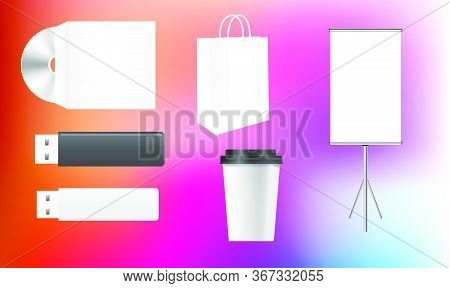 Mock Up Illustration Of Corporate Merchandise Identity On Abstract Background