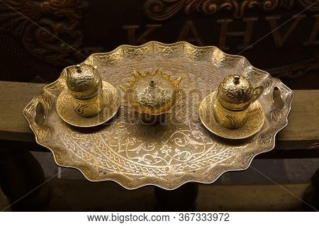 Istanbul, Turkey - October 30, 2019: Two Traditional Metal Cups Of Coffee On A Tray In Istanbul Nigh