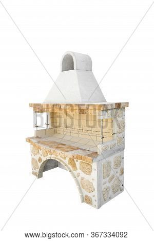Big Barbecue Open Fireplace For Cookout Food. Outdoor Bbq Grill. Open Summer Kitchen. Barbeque Grill