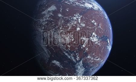 3d Rendering Of The Process Of Terraforming Mars. The Phased Appearance Of The Atmosphere And Clouds