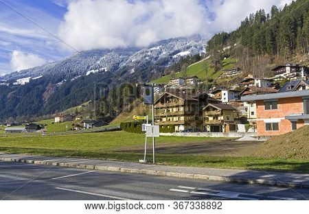 Ziller Valley, Austria - March 8, 2020: Bus Stop On A Highway In A Mountain Valley. Zillertal Valley