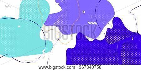 Purple Memphis Shapes. Modern Geometric Presentation. Contemporary Liquid Template. Blue Cool Textur