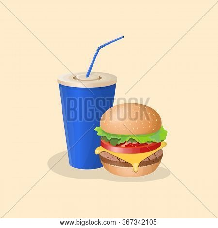 Burger And Blue Soda Cup - Cute Cartoon Colored Picture. Graphic Design Elements For Menu, Poster, B