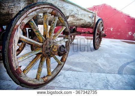 Old Wooden Horse Cart Carriage Wheels