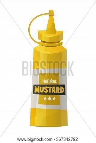 Mustard Bottle Isolated On White Background Vector Illustration