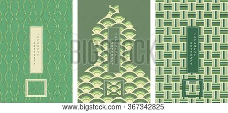 Oriental Japanese Style Abstract Green Tone Seamless Pattern Background Design Geometry Wave Wave Sc