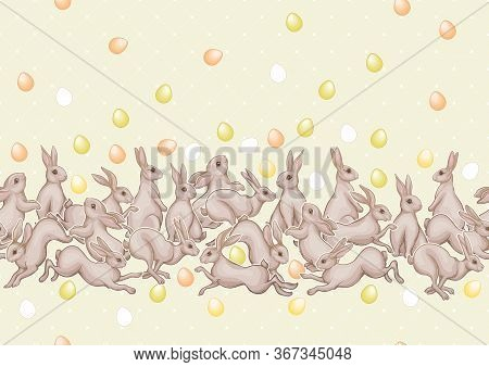 Seamless Pattern With A White Hares, Colored Eggs For Easter. Colored Vector Illustration. In Art No