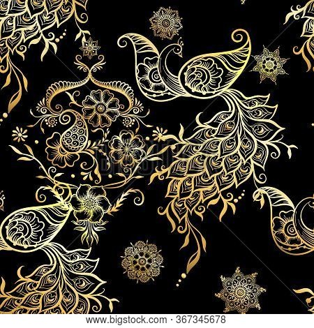 Eastern Ethnic Style Compositions, Mehendi, Traditional Indian Henna Floral Ornament With Peacock. S