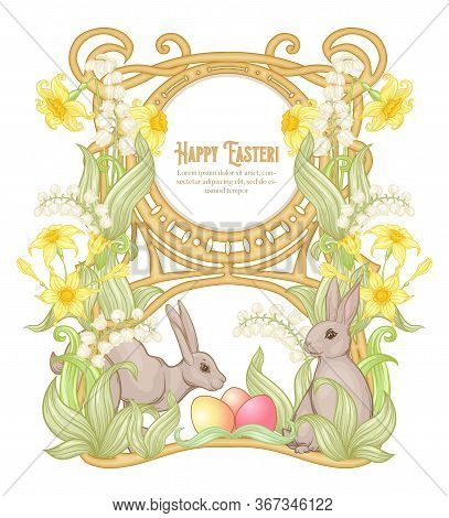 Happy Easter Template Postcard, Poster With A Hare, Eggs And Spring Flowers. Good For Product Label