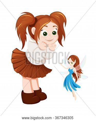 Greeting Card With Cute Cartoon Girl And Fairy Tale Pixie Toy