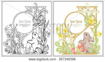 Happy Easter Coloring Page For The Adult Coloring Book With Spring Flowers, Eggs And Rabbit. Vector