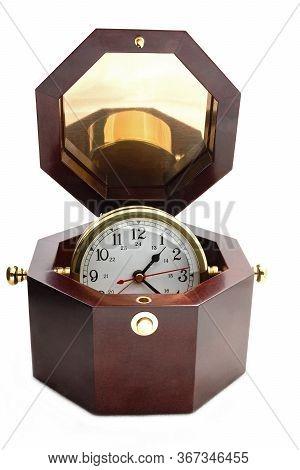 Desk Clock Inside Rosewood Box Isolated Against White