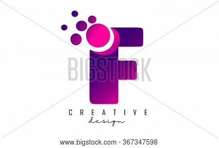 F Dots Letter Logo With Purple Pink Bubbles Vector Illustration. Dots Illustration With F Letter.