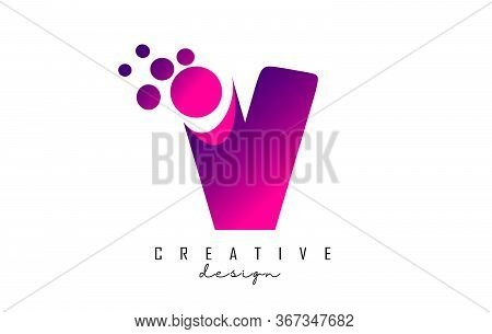 V Dots Letter Logo With Purple Pink Bubbles Vector Illustration. Dots Illustration With V Letter.