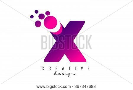 X Dots Letter Logo With Purple Pink Bubbles Vector Illustration. Dots Illustration With X Letter.